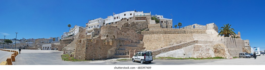 Morocco, 22/04/2016: wall and skyline of the old town of Tangier, city on the Maghreb coast, nexus for many cultures and destination for European and American diplomats, spies, writers and businessmen