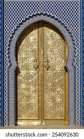 Morocco. Big golden doors of the royal palace of Fes