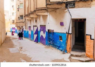 Morocco, Casablanca- February 10, 2015: Walls coverd by street art,graffitti on narrow streets in Morocco.