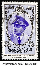 MOROCCO - CIRCA 1957: a stamp printed in the Morocco shows Mohammed V, King of Morocco, 30th Anniversary of Enthronement of Mohammed V, circa 1957