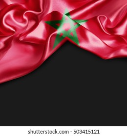 Morocco Country Flag on black background