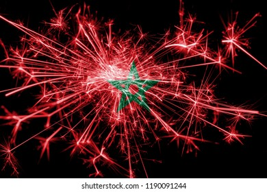 Morocco fireworks sparkling flag. New Year 2019 and Christmas party concept
