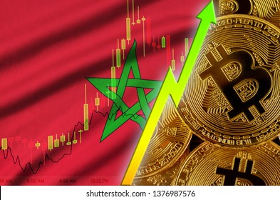 Morocco flag and cryptocurrency growing trend with many golden bitcoins