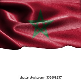 Morocco  flag on smooth silk texture Space for Text