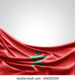 Morocco  flag of silk with copyspace for your text or images and white background -3D illustration