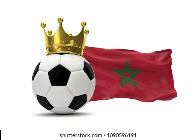 Morocco flag and soccer ball with gold crown. 3D Rendering