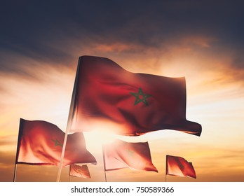 Morocco flags waving with pride on a sunny  day /high contrast image