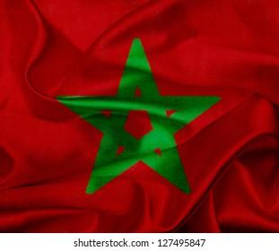 Morocco grunge waving flag