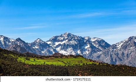 Morocco  High Atlas Mountain range. Morocco  High Atlas Mountain range. Springtime. Blue sky. Bright sunshine.