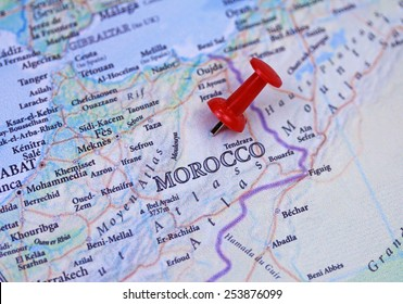 Morocco map close up with a push pin
