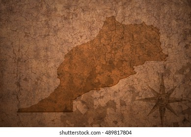 morocco map on a old vintage crack paper background