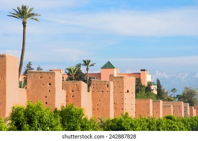 Morocco, Marrakesh, the ancient walls surrounding the city