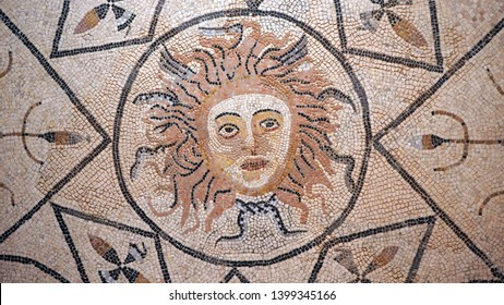 Morocco. Meknes. Volubilis archeological site. UNESCO World Heritage Site. Capital of ancient Mauretania. Colony of Roman Empire in North Africa. Mosaic with Medusa head.