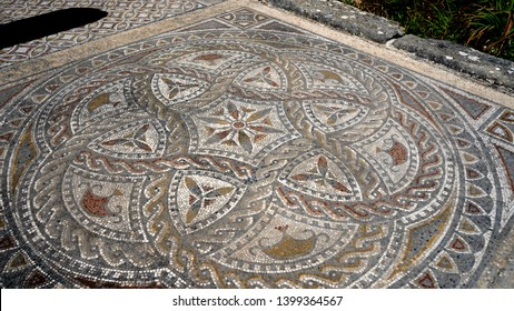 Morocco. Meknes. Volubilis archeological site. UNESCO World Heritage Site. Capital of ancient Mauretania. Colony of Roman Empire in North Africa. Mosaic with geometric patterns an mythological scenes.