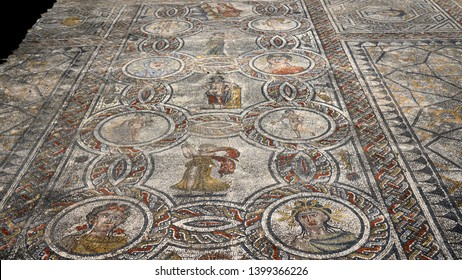 Morocco. Meknes. Volubilis archeological site. UNESCO World Heritage. Capital of ancient Mauretania. Colony of Roman Empire in North Africa. Mosaic of goddess Venus with mythological scenes.