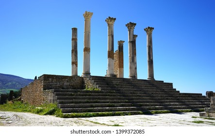 Morocco. Meknes. Volubilis archeological site. UNESCO World Heritage Site. Capital of ancient Mauretania. Colony of Roman Empire in North Africa. View of the ruins.