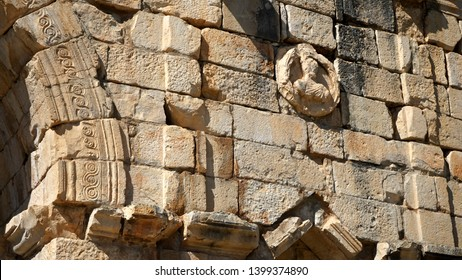 Morocco. Meknes. Volubilis archeological site. UNESCO World Heritage Site. Capital of ancient Mauretania. Colony of Roman Empire in North Africa.  Details of the Arch of Caracalla.