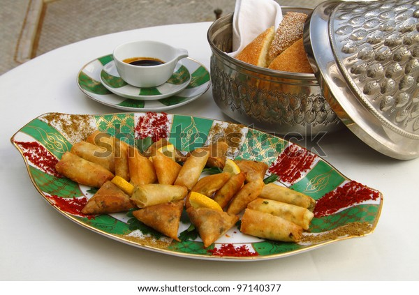 Morocco - Moroccan cuisine. Selection of starters on an antique plate