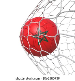 Morocco Moroccan flag soccer ball inside the net, in a net. Isolated on white background. 3D Rendering, Illustration.