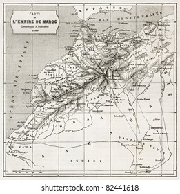 Morocco old map.  Created by Erhard and Bonaparte, published on Le Tour du Monde, Paris, 1860