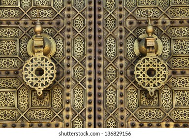 Morocco, Rabat, detail of typical old arabesque intricate engraved brass door in Islamic design
