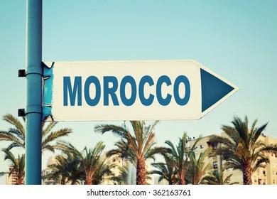 Morocco Road Sign. Travel Destination
