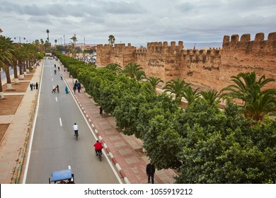 Morocco - Taroudant old medieval defensive wall and palms alley