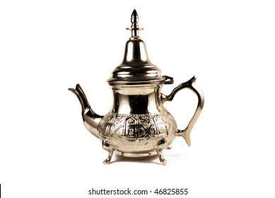 Morocco teapot for mint tea isolated on white background
