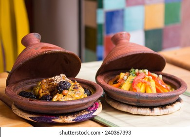 Morocco typical dish - meat and vegetable in a tajine.
