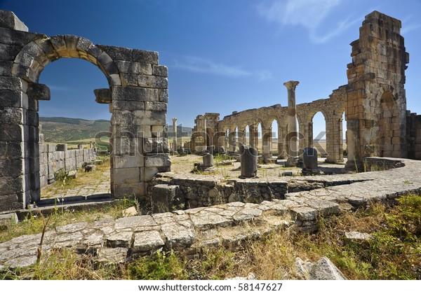 Morocco. Volubilis - archaeological site is on UNESCO World Heritage List. Ruins of the Basilica.