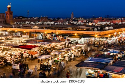 MOROCCO-DEC 24:The Night Market in the famous public square, a UNESCO site, in Marrakech, Morocco on Dec. 24, 2012. In the evening it fills with food stands, attracting crowds of locals and tourists.