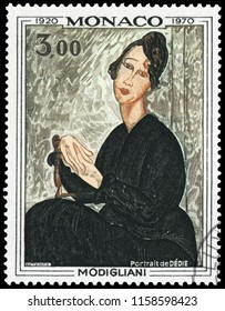 Moroco, Moroco - December 15, 1970: Portrait of Dedie, by Amedeo Clemente Modigliani (1884-1920), an Italian-Jewish painter and sculptor who worked mainly in France. Stamp issued in 1970