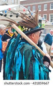Morris dancer costume, Lodestone Border, Exmouth festival, June 4 2016. Devon United Kingdom.