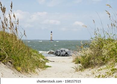 The Morris Island Lighthouse, Folly Beach, SC, built in 1876.