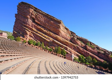 MORRISON, CO -11 MAY 2019- View of the Red Rocks Amphitheatre, an open-air amphitheater carved into the red rock located near Denver, Colorado.