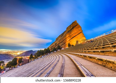 MORRISON, COLORADO, USA - MARCH 12, 2019 : Early morning at Red Rocks Red Rocks Amphitheatre.