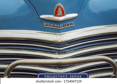 Morrison, Colorado/USA - 05.04.2015: Front of Plymouth blue car, with logo and chrome bar.