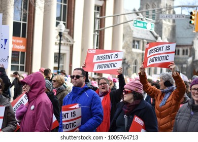 Morristown, NJ/US – January 20, 2018: Thousands of people jointed in protest at the Women's March on New Jersey.