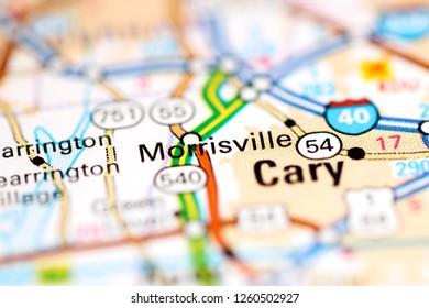 Morrisville. North Carolina. USA on a geography map