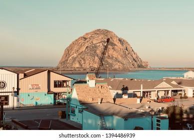 Morro Bay, California - January 26 2019: Panorama of the city of Morro Bay is a coastal city in San Luis Obispo County, California, United States