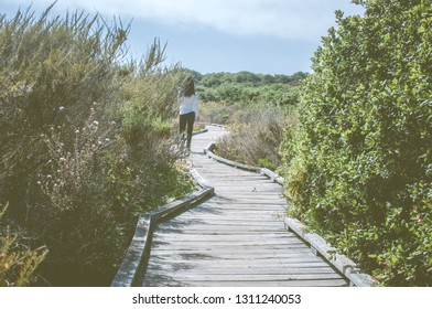 Morro Bay, California/ United States - 06-15-2012 : Woman Strolls Down Boardwalk on a Wetland Preserve