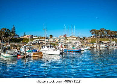 MORRO BAY, CALIFORNIA USA - July 13, 2016:View of the Morro Bay and the boat in harbor on a sunny day Morro Bay is a small village along the route 101 at Californias coast line