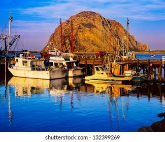 Morro Bay Harbor and Morro Rock, California
