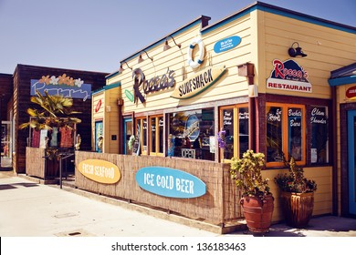 MORRO BAY - JULY 24: Facade of Rocca'??s Surf Shack restaurant on Jily 24, 2012 in Morro Bay, CA. Rocca'??s Surf Shack is a surfer-themed cafe offering a spectacular view of the bay and Morro Rock