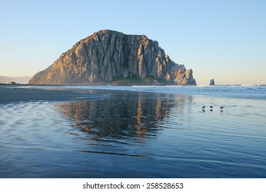 Morro bay rock and beach in the morning