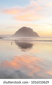 Morro bay rock and beach in the sunset evening.