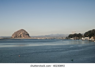 Morro Bay with Morro Rock and the yacht harbor