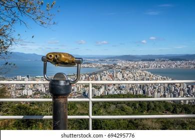 Morro da Cruz Viewpoint and Downtown Florianopolis City view - Florianopolis, Santa Catarina, Brazil