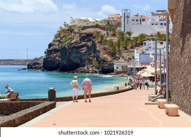 Morro Jable, Fuerteventura/ Spain, May 25, 2017: View of the promenade to the beach in Morro Jable, Fuerteventura, Canary Islands in Spain