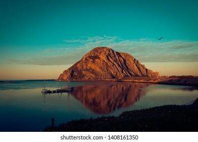 Morro Rock in Morro Bay, Central California, USA is a popular travel destination